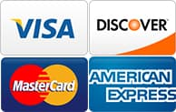 We accept Visa, Discover, MasterCard, and American Express